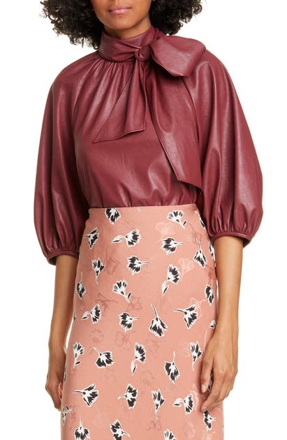 Rebecca Taylor Tops TIE NECK FAUX LEATHER TOP