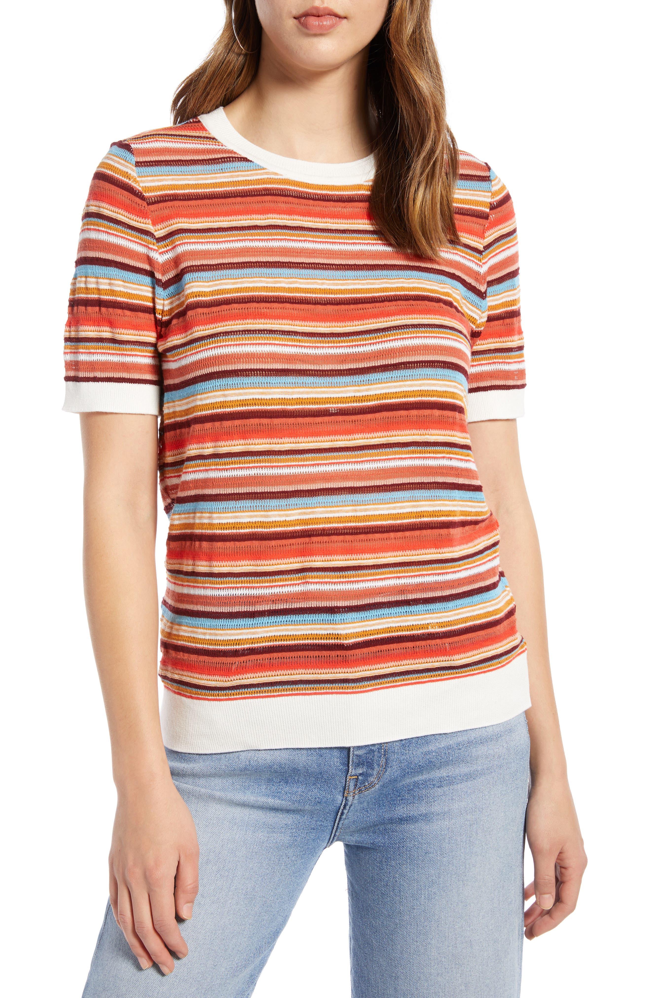 Plus Size Halogen Stripe Sweater, Red