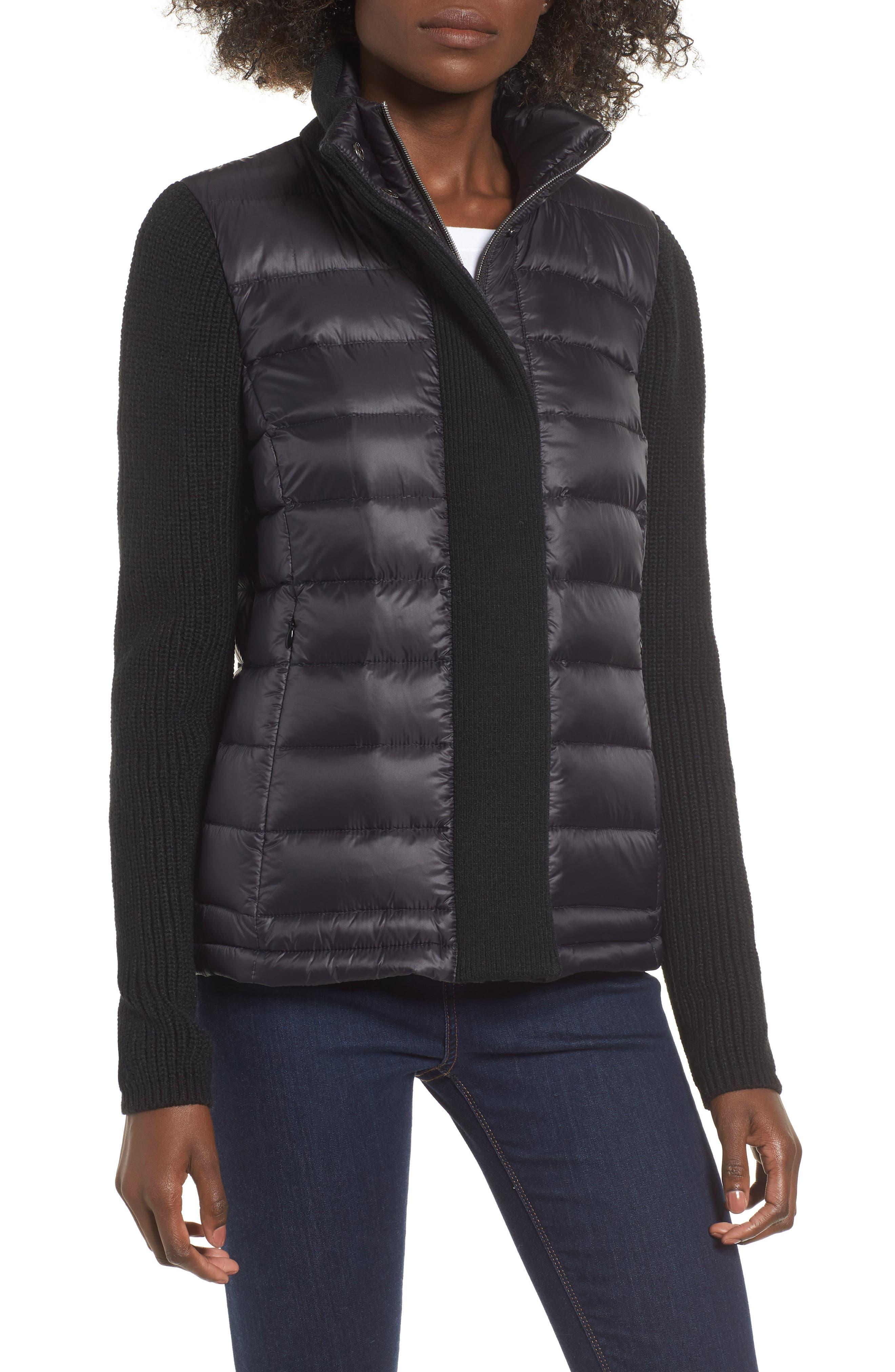 ,                             Mark New York Packable Knit Trim Puffer Jacket,                             Alternate thumbnail 11, color,                             001