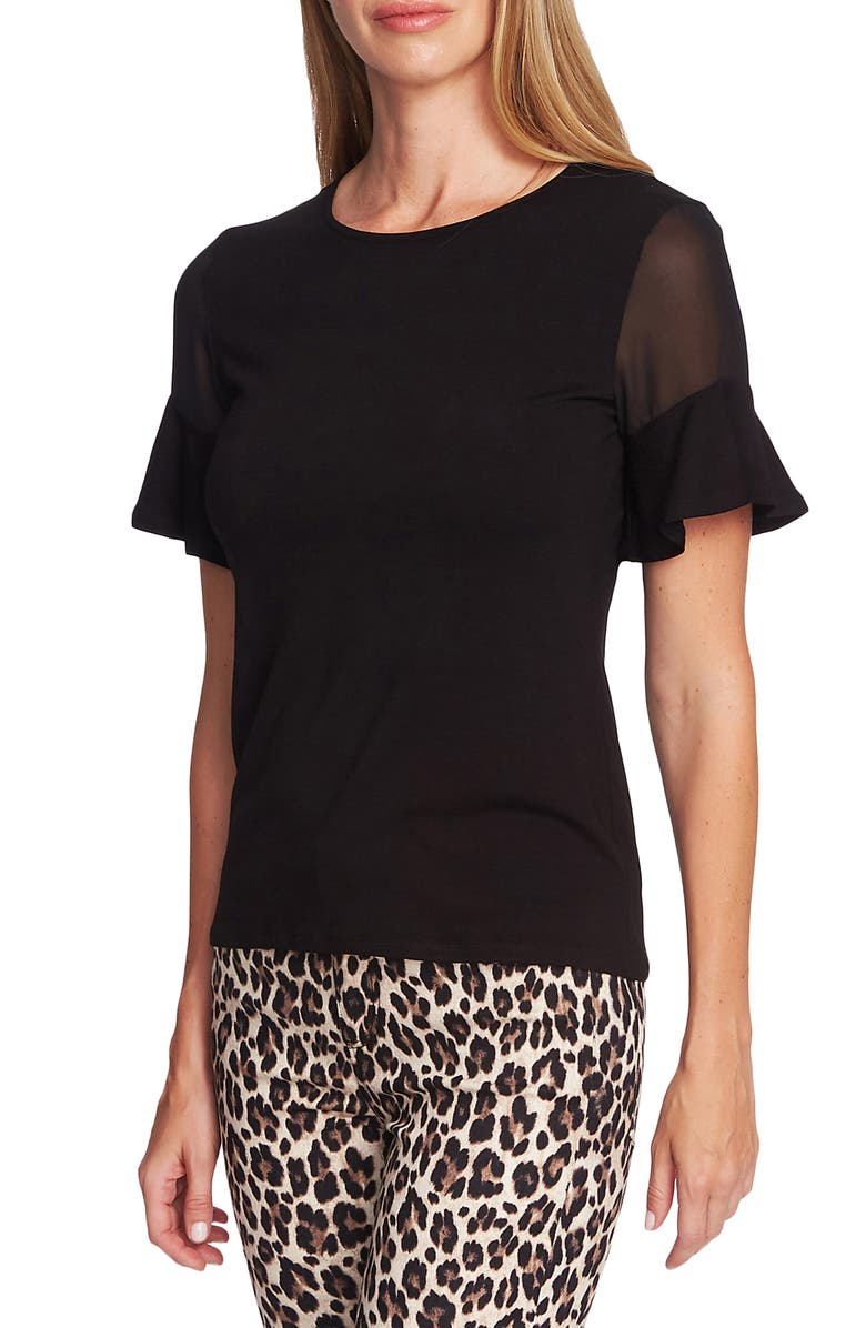 VINCE CAMUTO Mix Media Flutter Sleeve Top, Main, color, 006