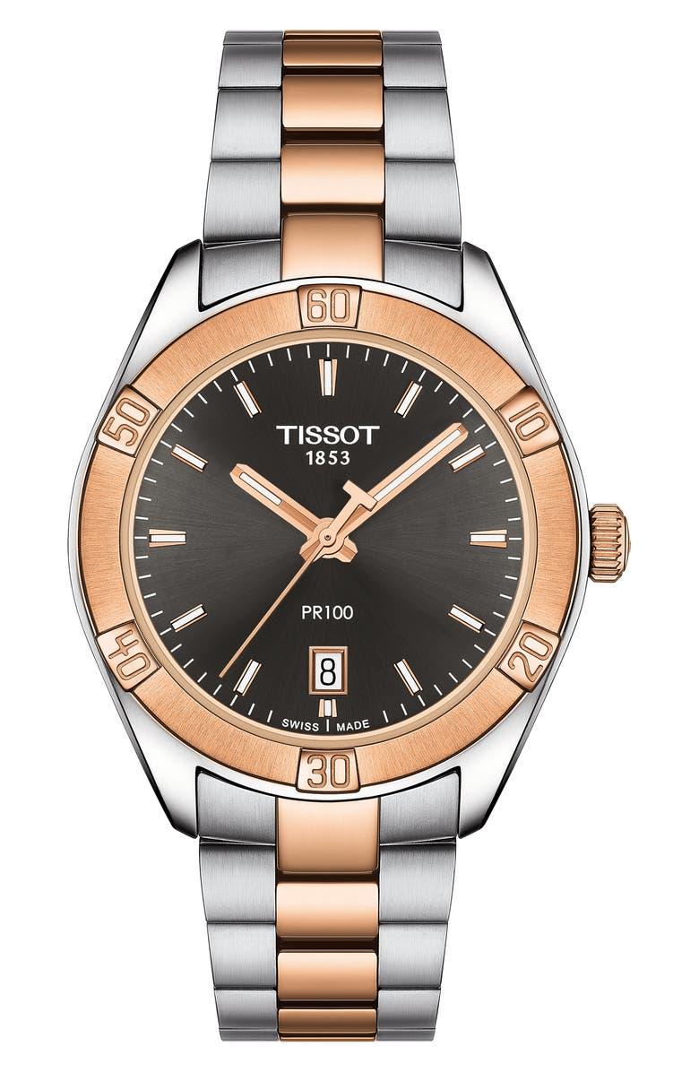 TISSOT PR 100 Sport Chic Bracelet Watch, 36mm, Main, color, SILVER/ GREY/ ROSE GOLD