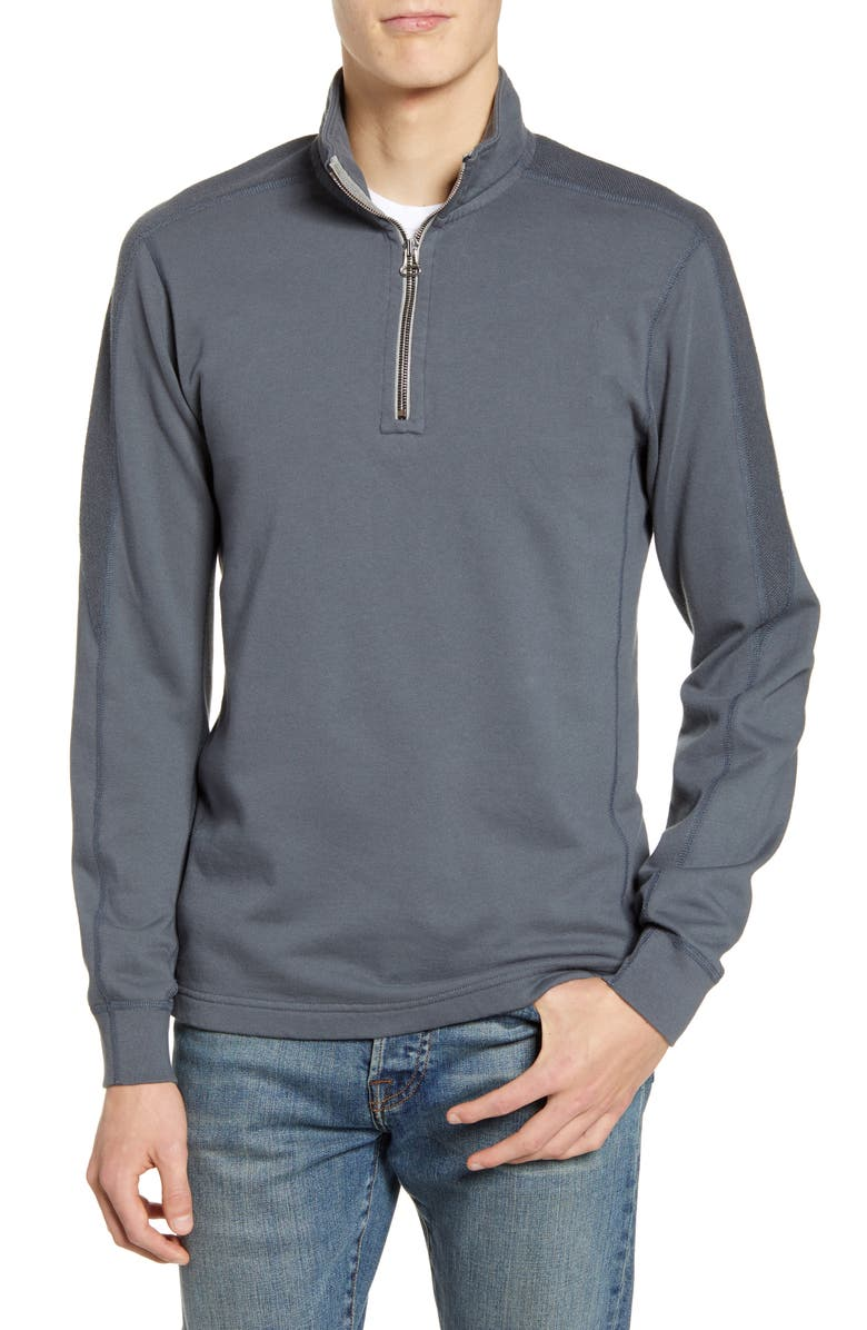 Wings Horns Inverted Half Zip Cotton Pullover