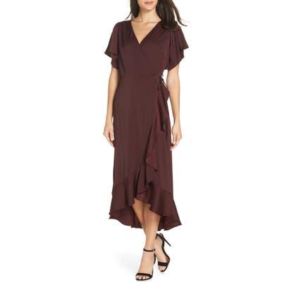 Chelsea28 Midi Ruffle Wrap Dress, Burgundy