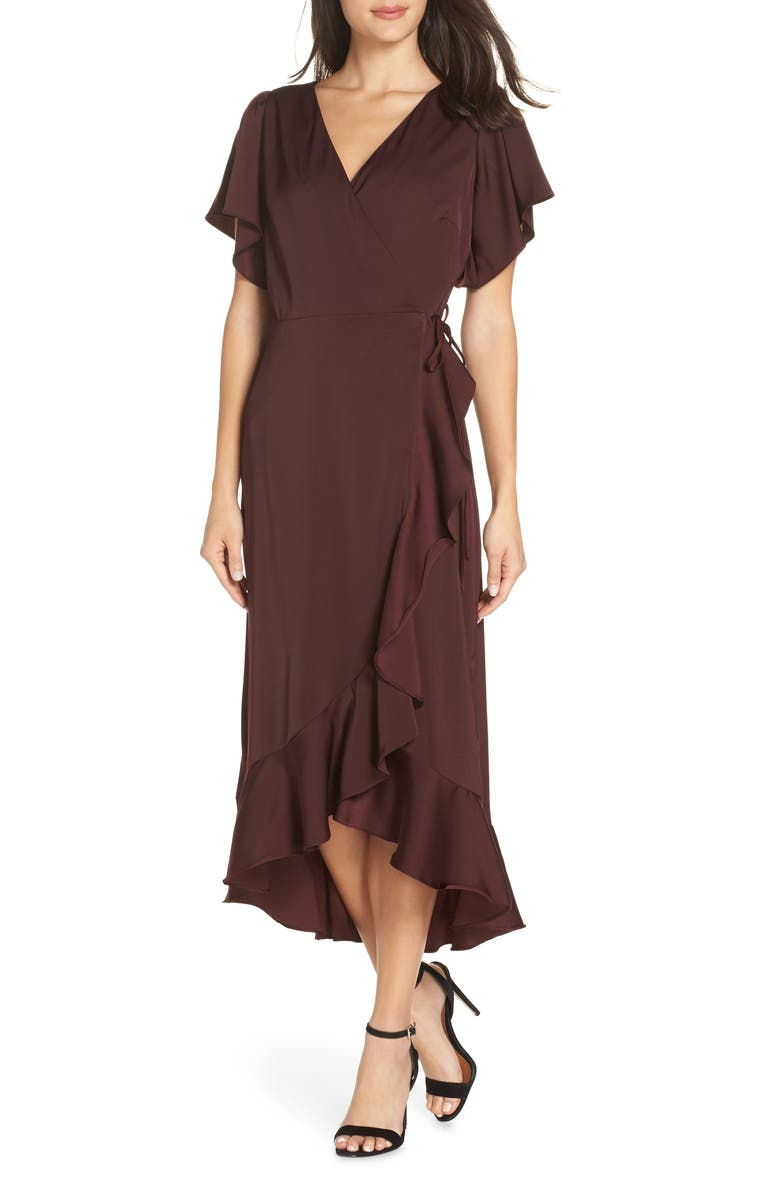 CHELSEA28 Midi Ruffle Wrap Dress, Main, color, BURGUNDY STEM
