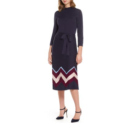 Petite Vince Camuto Chevron Sweater Dress, Blue