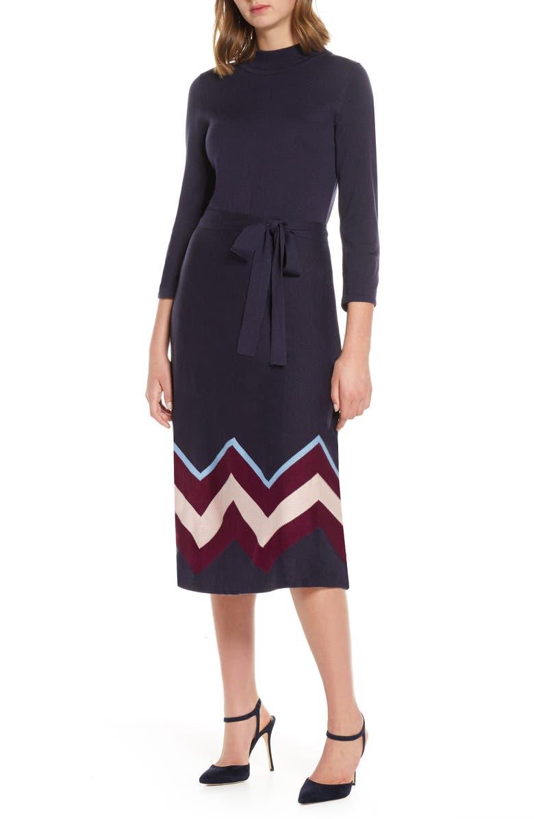 VINCE CAMUTO Chevron Sweater Dress, Main, color, MUL