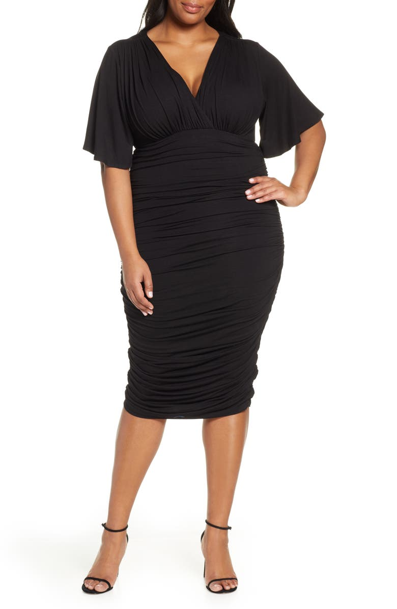 KIYONNA Rumor Ruched Body-Con Dress, Main, color, BLACK