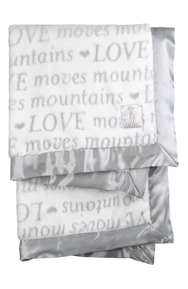 LITTLE GIRAFFE Luxe Love Moves Mountains Faux Fur Baby Blanket, Main, color, SILVER