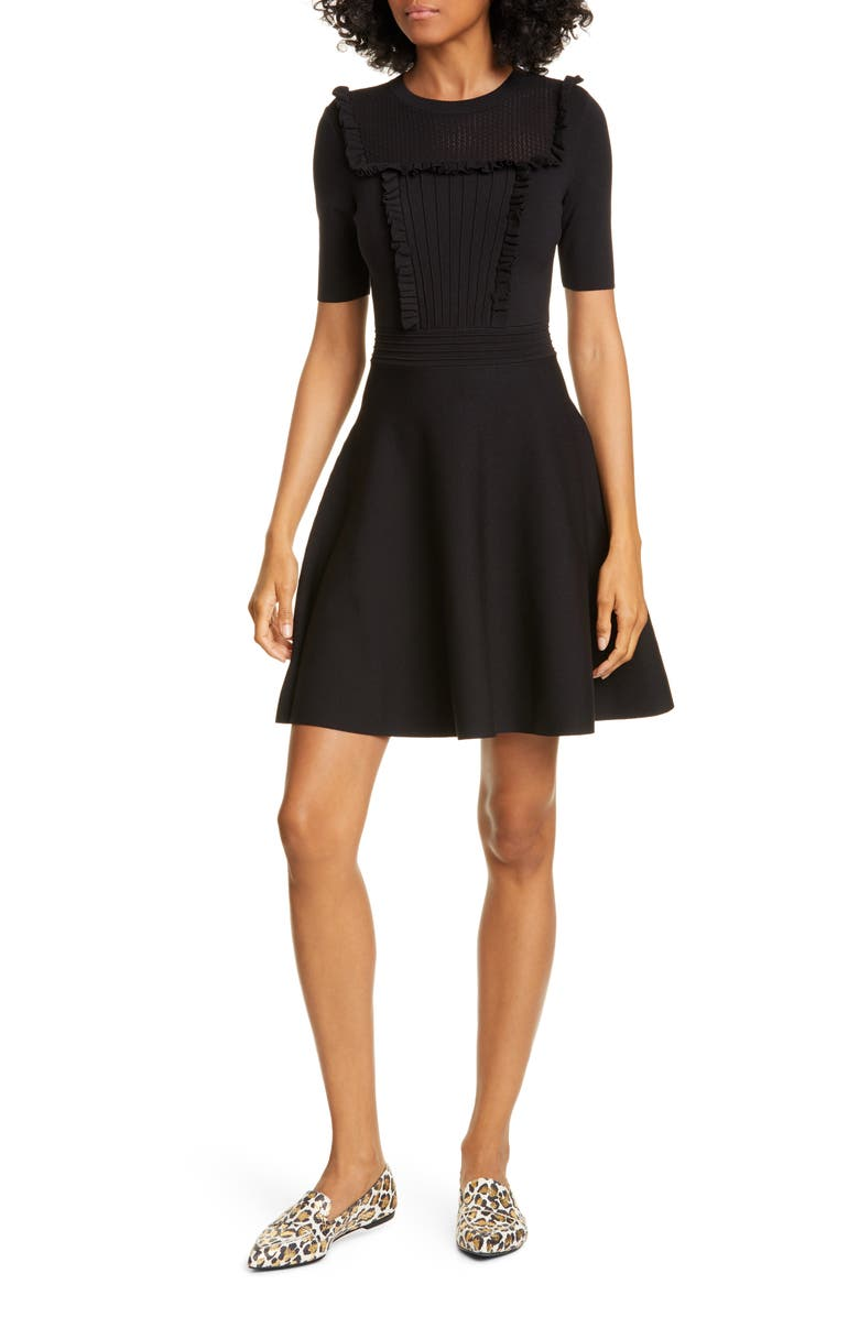 TED BAKER LONDON Mockable Skater Dress, Main, color, BLACK