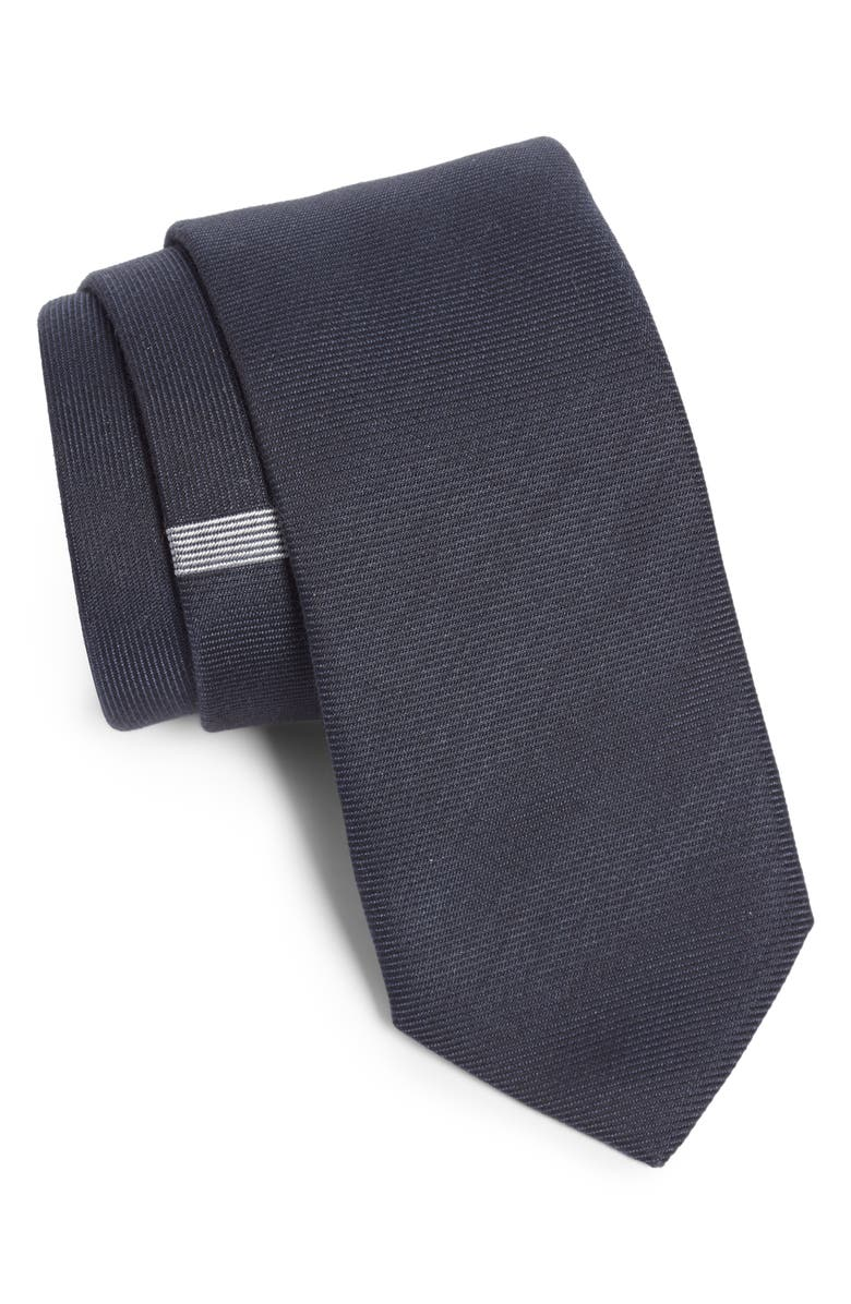 TITLE OF WORK Perpendicular Rib Wool & Silk Tie, Main, color, BLACK/ SILVER