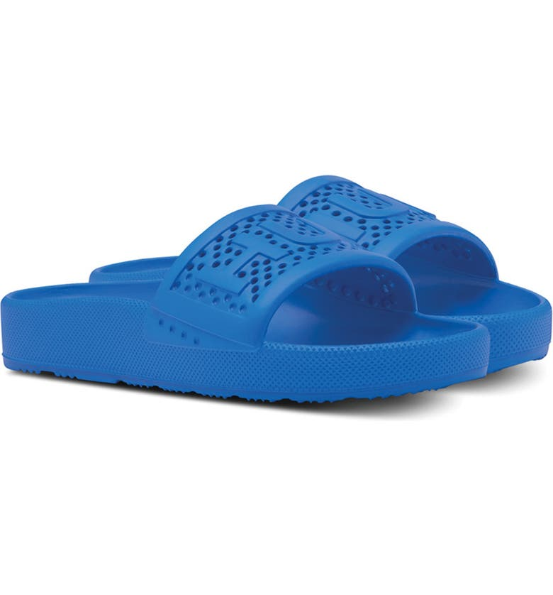 HUNTER Original Logo Strap Slide Sandal, Main, color, BUCKET BLUE