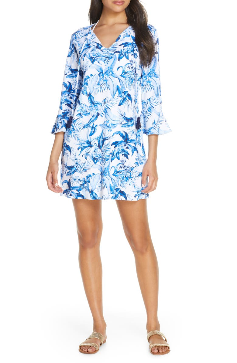TOMMY BAHAMA Indigo Garden Cover-Up Dress, Main, color, WHITE
