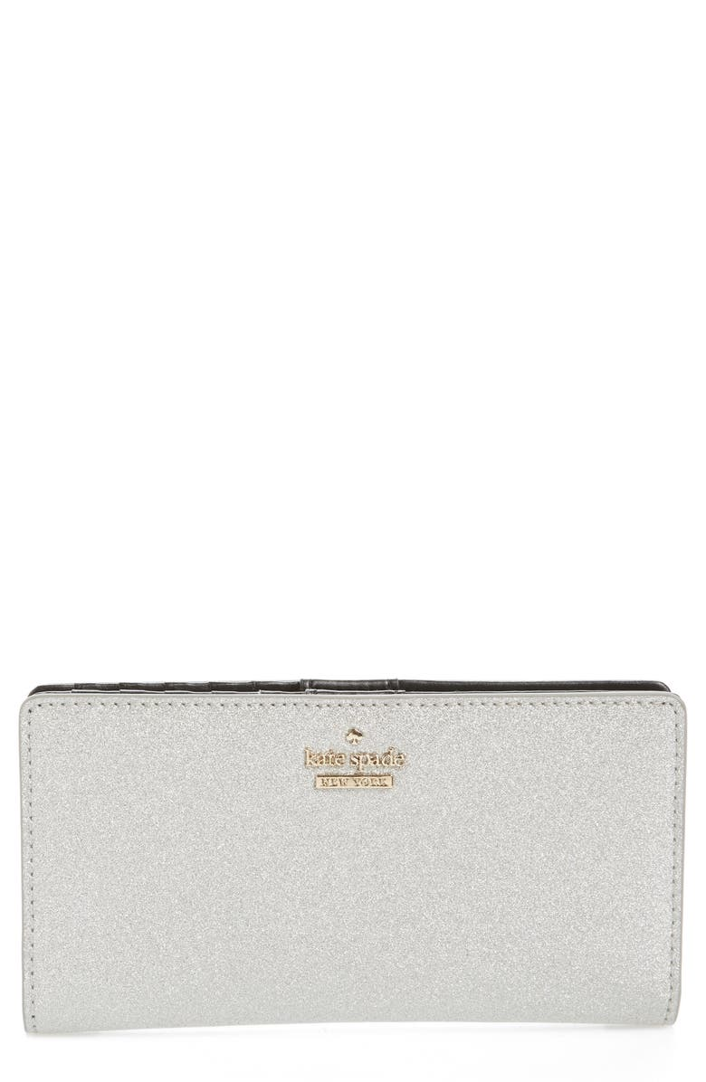 KATE SPADE NEW YORK burgess court - stacy wallet, Main, color, SILVER