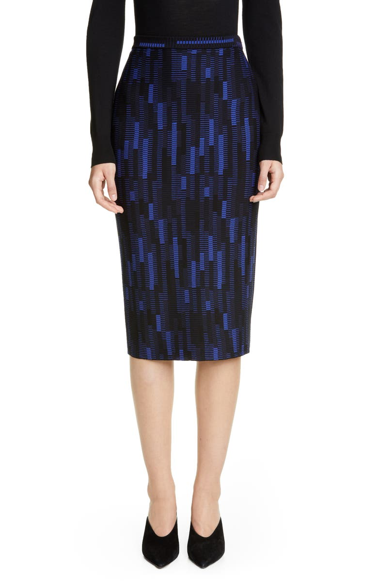 ST. JOHN COLLECTION Mosaic Stretch Jacquard Knit Pencil Skirt, Main, color, PRUSSIAN BLUE/ NAVY