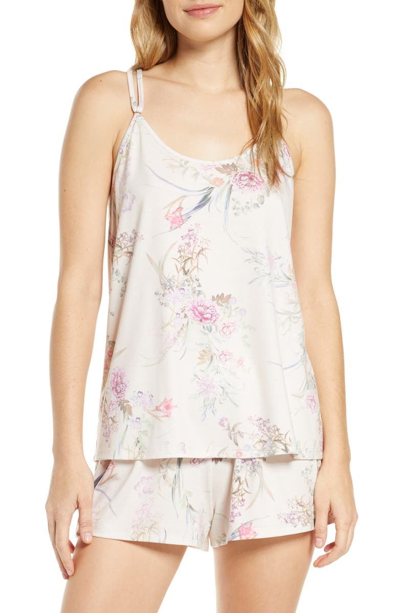 FLORA NIKROOZ Jasmine Satin Short Pajamas, Main, color, BEIGE