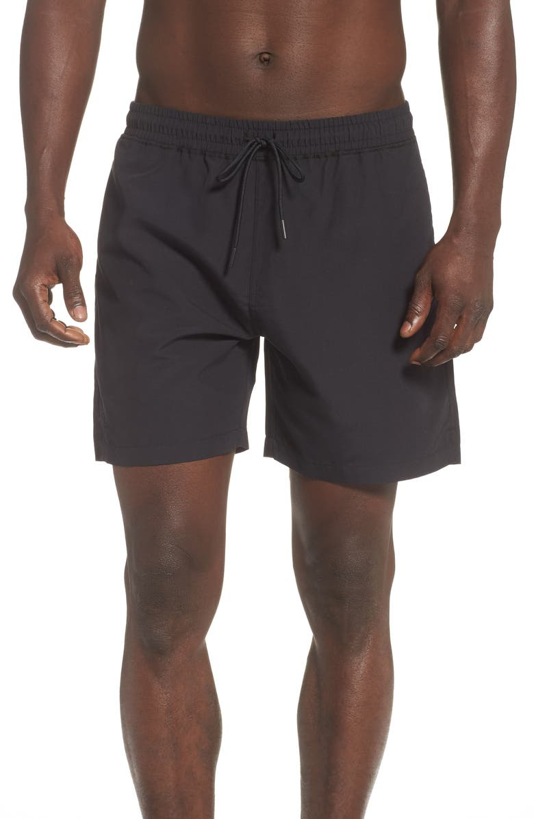 REIGNING CHAMP Microfiber Swim Trunks, Main, color, BLACK