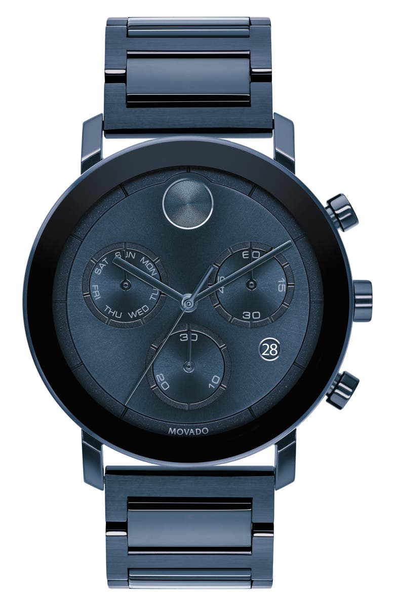 MOVADO Bold Evolution Chronograph Bracelet Watch, 42mm, Main, color, BLUE