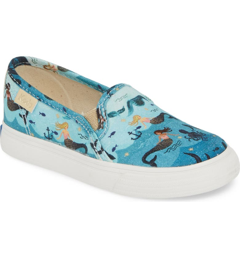 KEDS<SUP>®</SUP> x Rifle Paper Co. Double Decker Slip-On Sneaker, Main, color, MERMAID