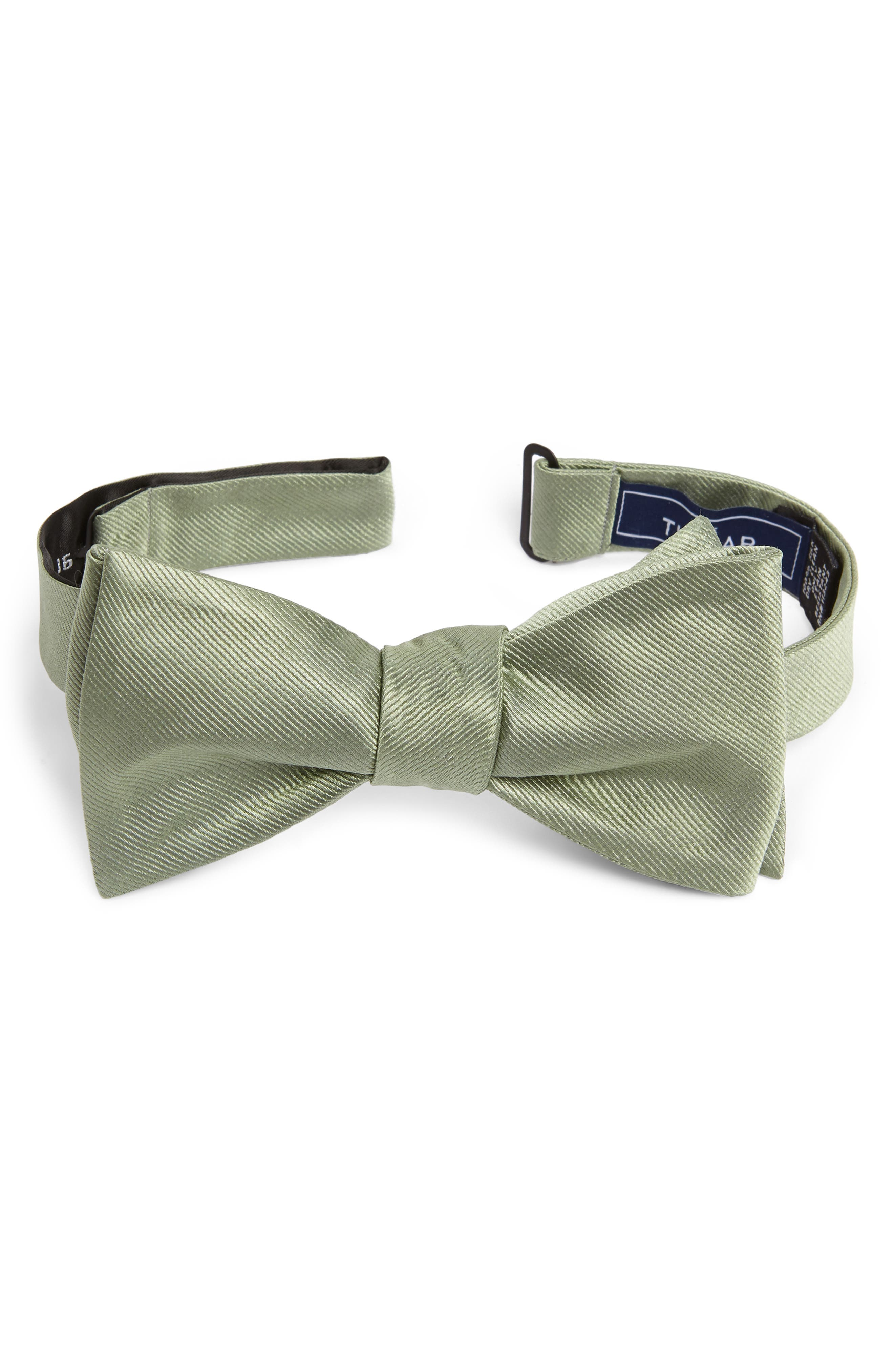 ,                             Silk Solid Bow Tie,                             Main thumbnail 1, color,                             SAGE GREEN