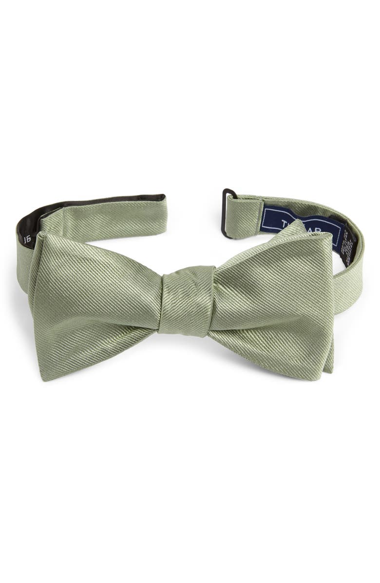 THE TIE BAR Silk Solid Bow Tie, Main, color, SAGE GREEN