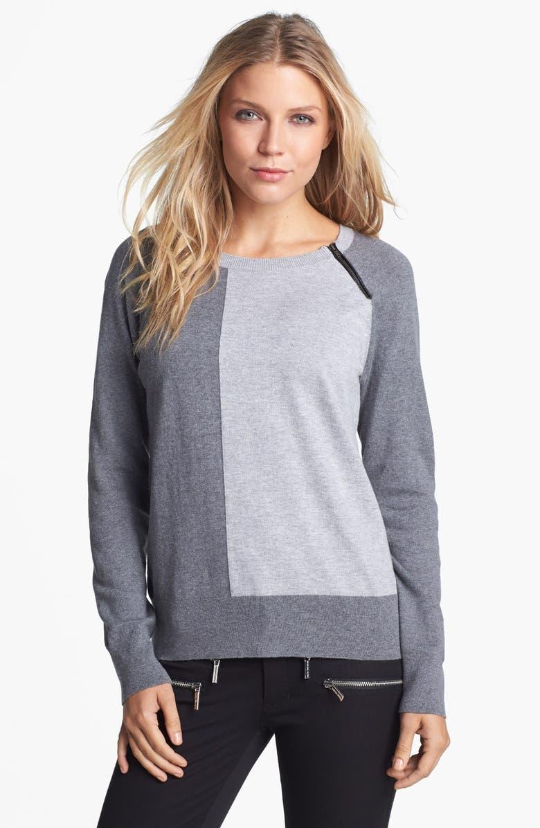 AMBER SUN Zip Trim Colorblock Crewneck Sweater, Main, color, 020
