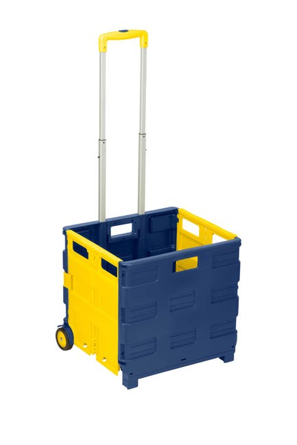 Image of Honey-Can-Do Blue/Yellow Rolling Folding Carry-All Crate