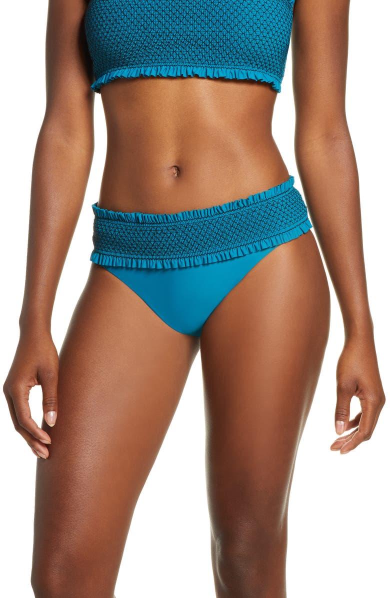 CHELSEA28 Smocked Hipster Bikini Bottoms, Main, color, TEAL GLOSS