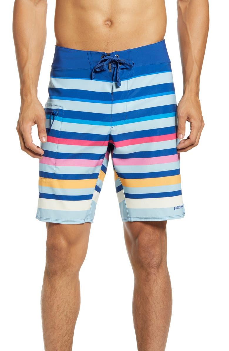 PATAGONIA Stretch Planing Swim Trunks, Main, color, SUNSET OMBRE/ BIG SKY BLUE