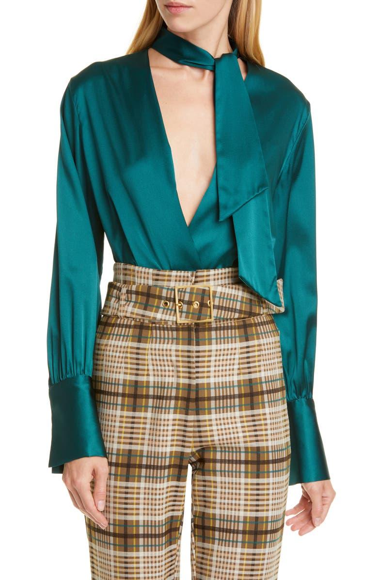 JONATHAN SIMKHAI Wrap Front Silk Charmeuse Bodysuit, Main, color, DEEP EMERALD