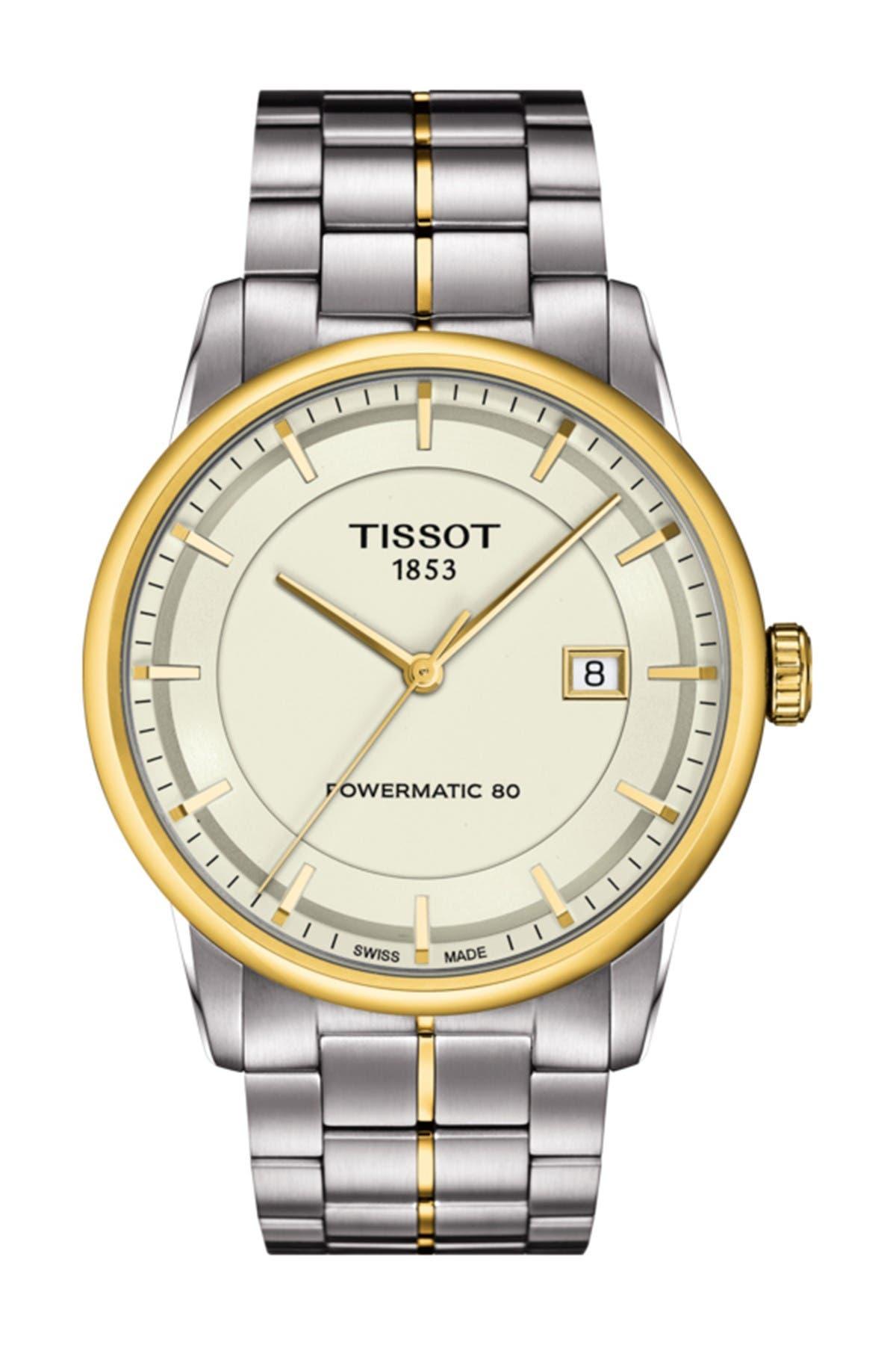 Image of Tissot Men's Luxury Powermatic 80 Two-Tone Bracelet Watch, 41mm