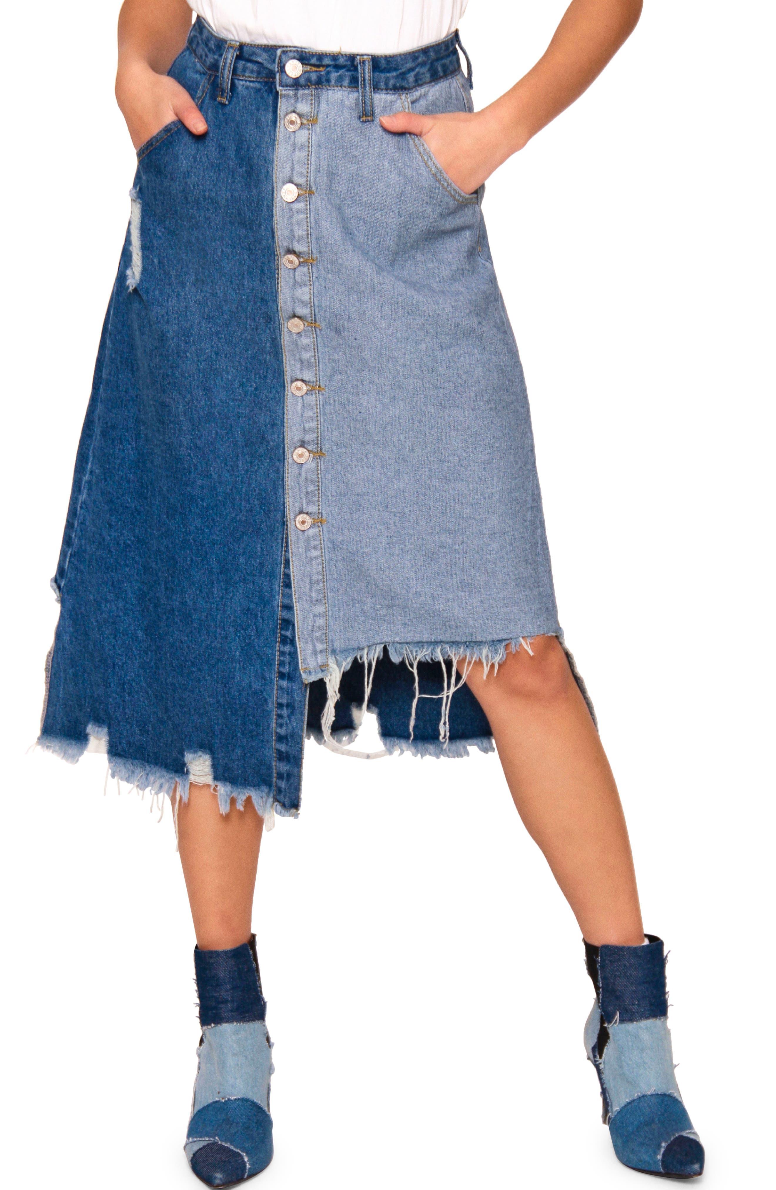 Adda Pieced Denim Skirt