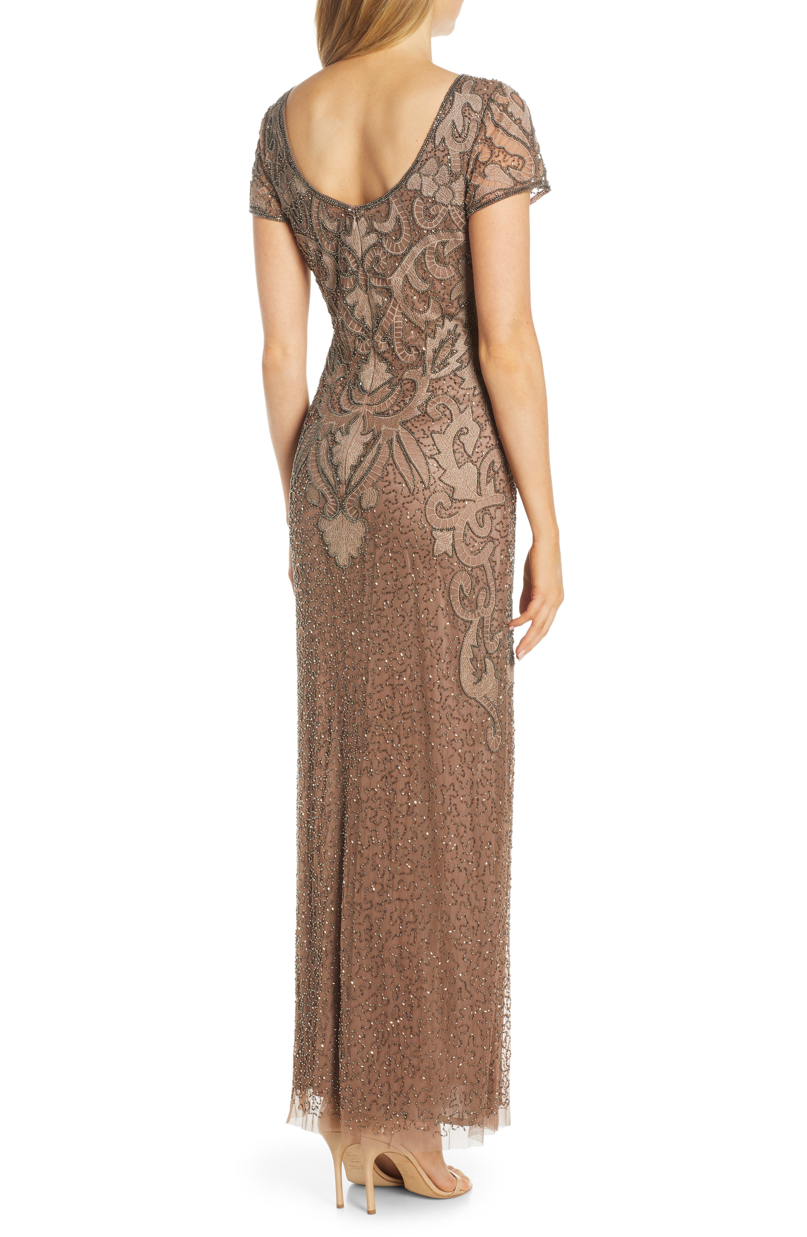 ,                             Embroidered Mesh Gown,                             Alternate thumbnail 2, color,                             MOCHA
