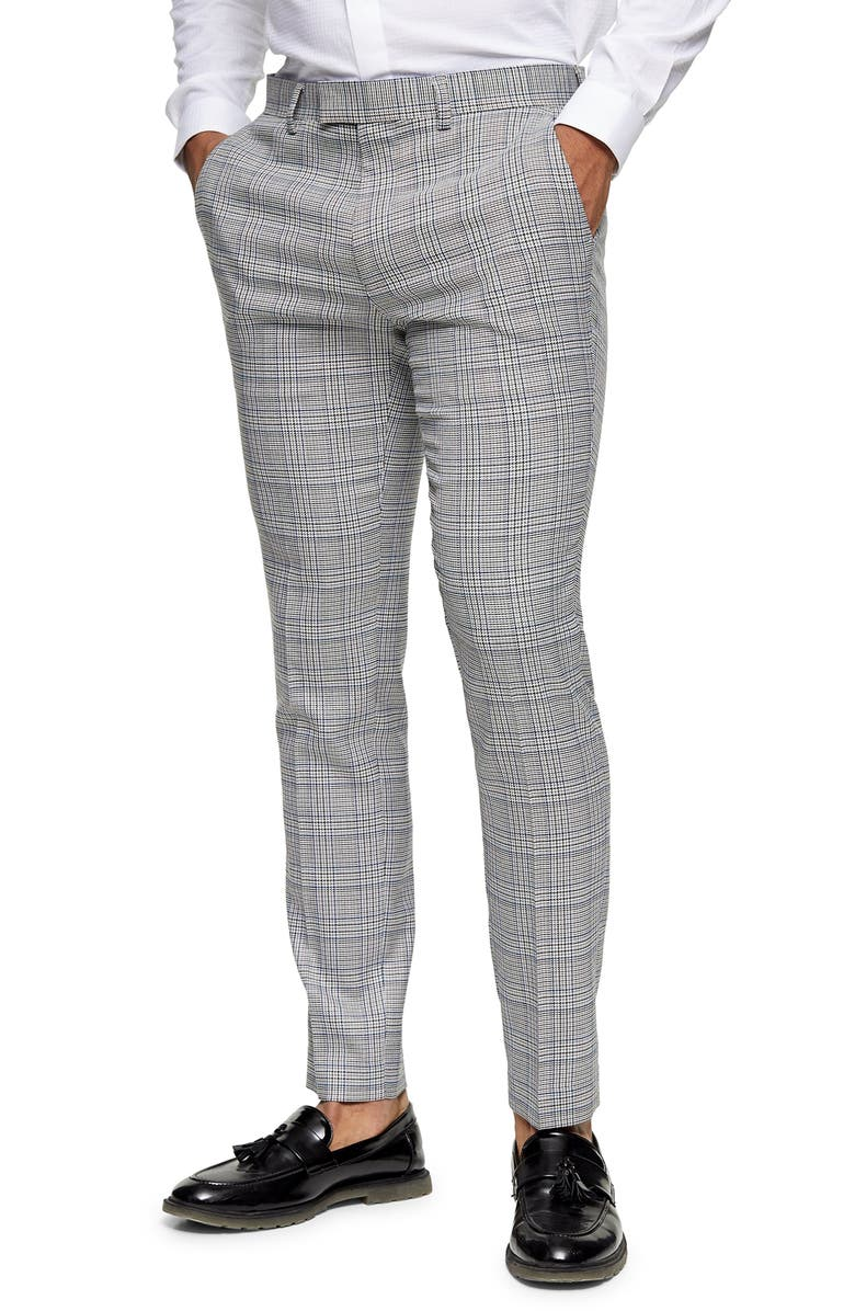 TOPMAN Luther Flat Front Skinny Fit Trousers, Main, color, GREY CHECK