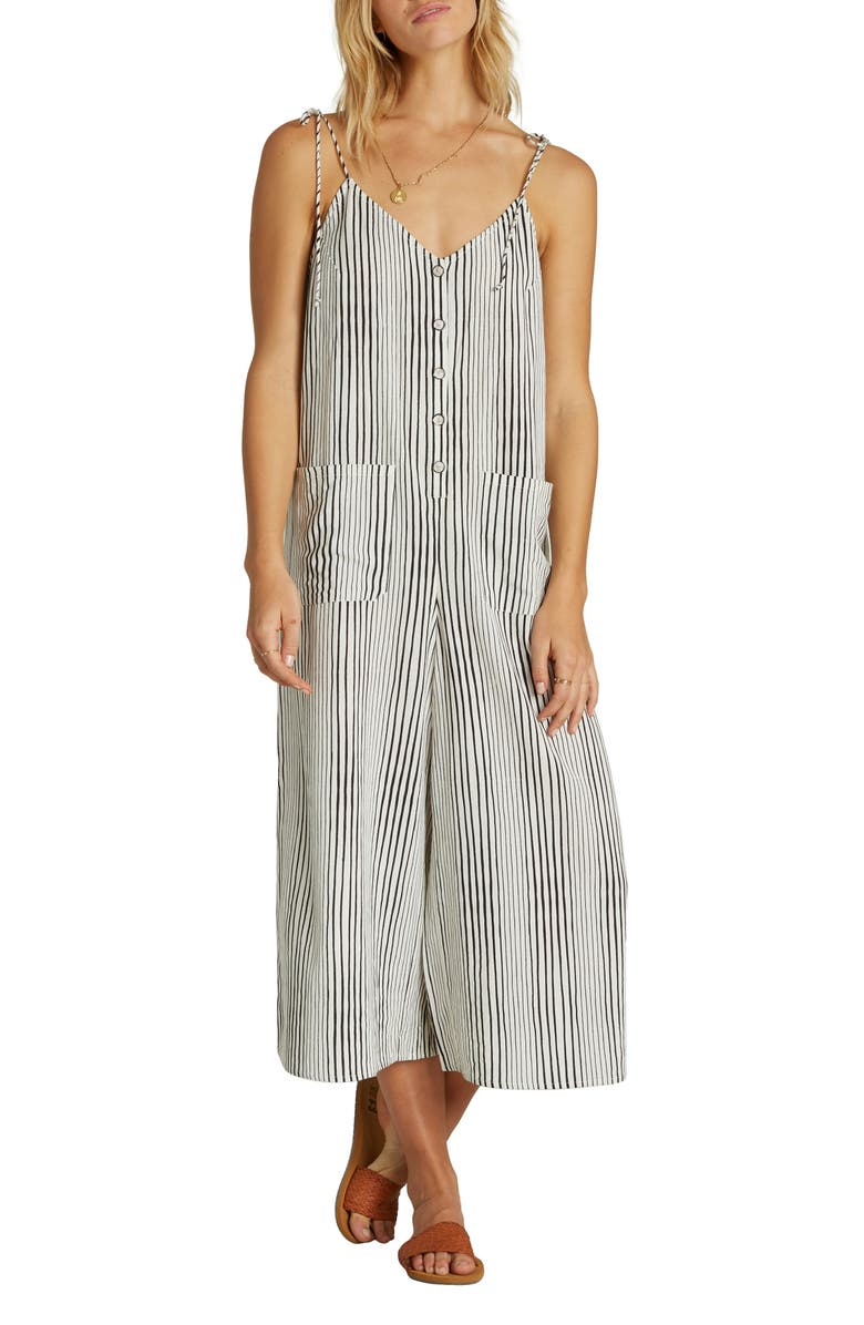 BILLABONG Tied Up Wide Leg Crop Jumpsuit, Main, color, BLACK WHITE