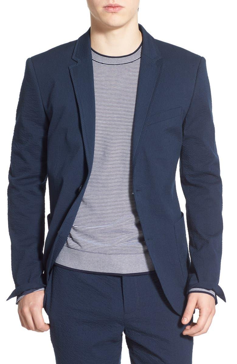 ORIGINAL PENGUIN Trim Fit Stretch Seersucker Jacket, Main, color, 413