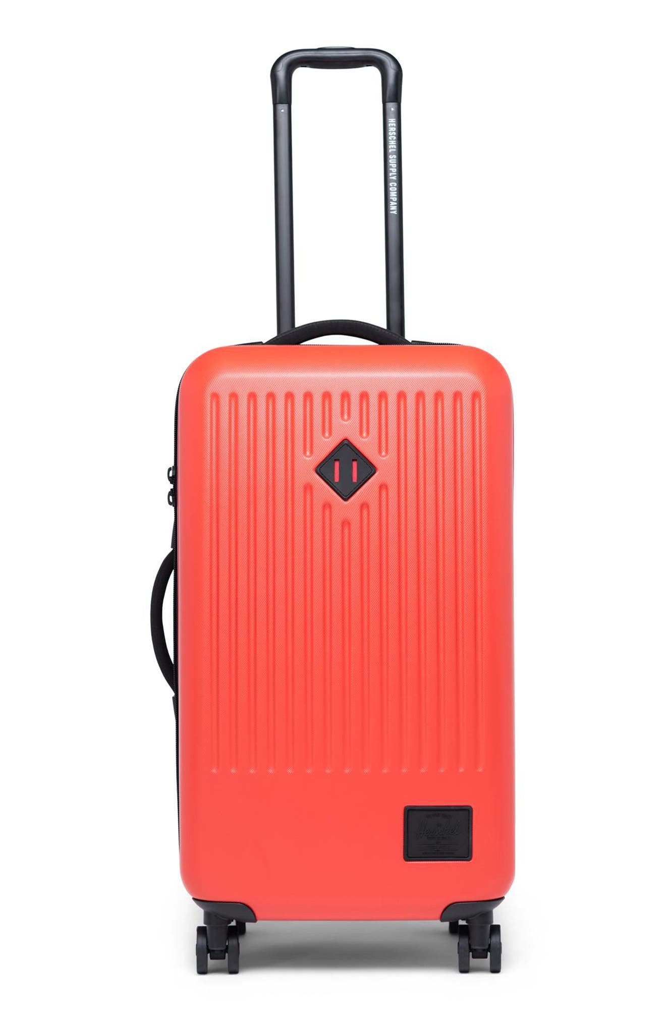 Durable yet lightweight, this modern hardside packing case features a spacious main compartment with room for everything you need on a long trip. Closure: The two-way zip-around closure features a low-profile, integrated TSA-approved lock with a three-digit combination dial for extra security. Exterior features: A set of four multidirectional wheels and a retractable, two-stage locking trolley handle mean smooth-rolling convenience on the