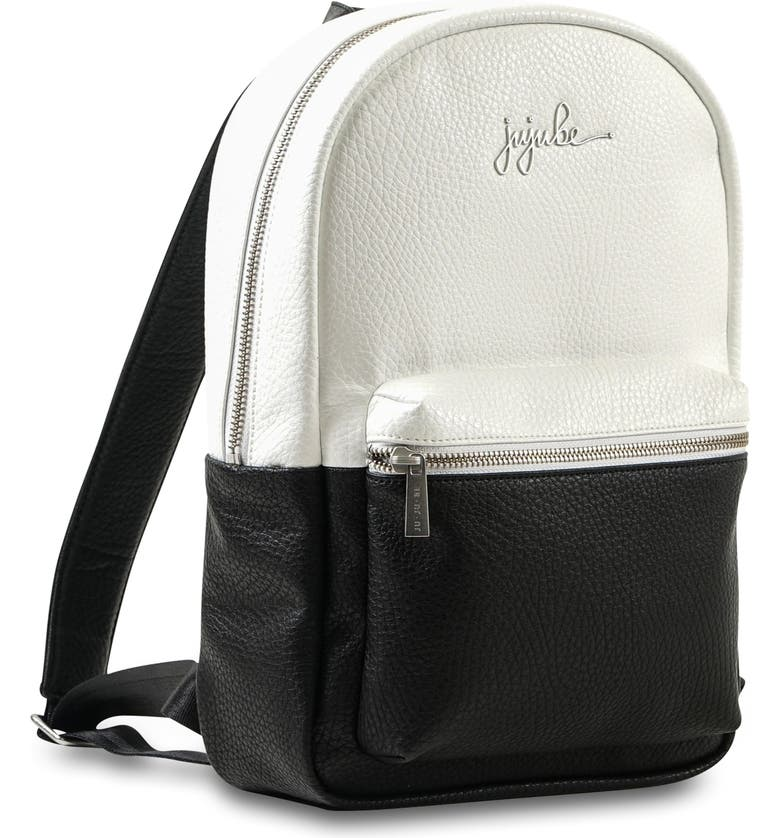 JU-JU-BE Ever Collection Mini Faux Leather Diaper Backpack, Main, color, BLACK/ WHITE