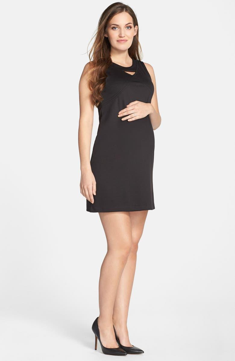 MATERNAL AMERICA Keyhole Ponte Knit Maternity Dress, Main, color, 001