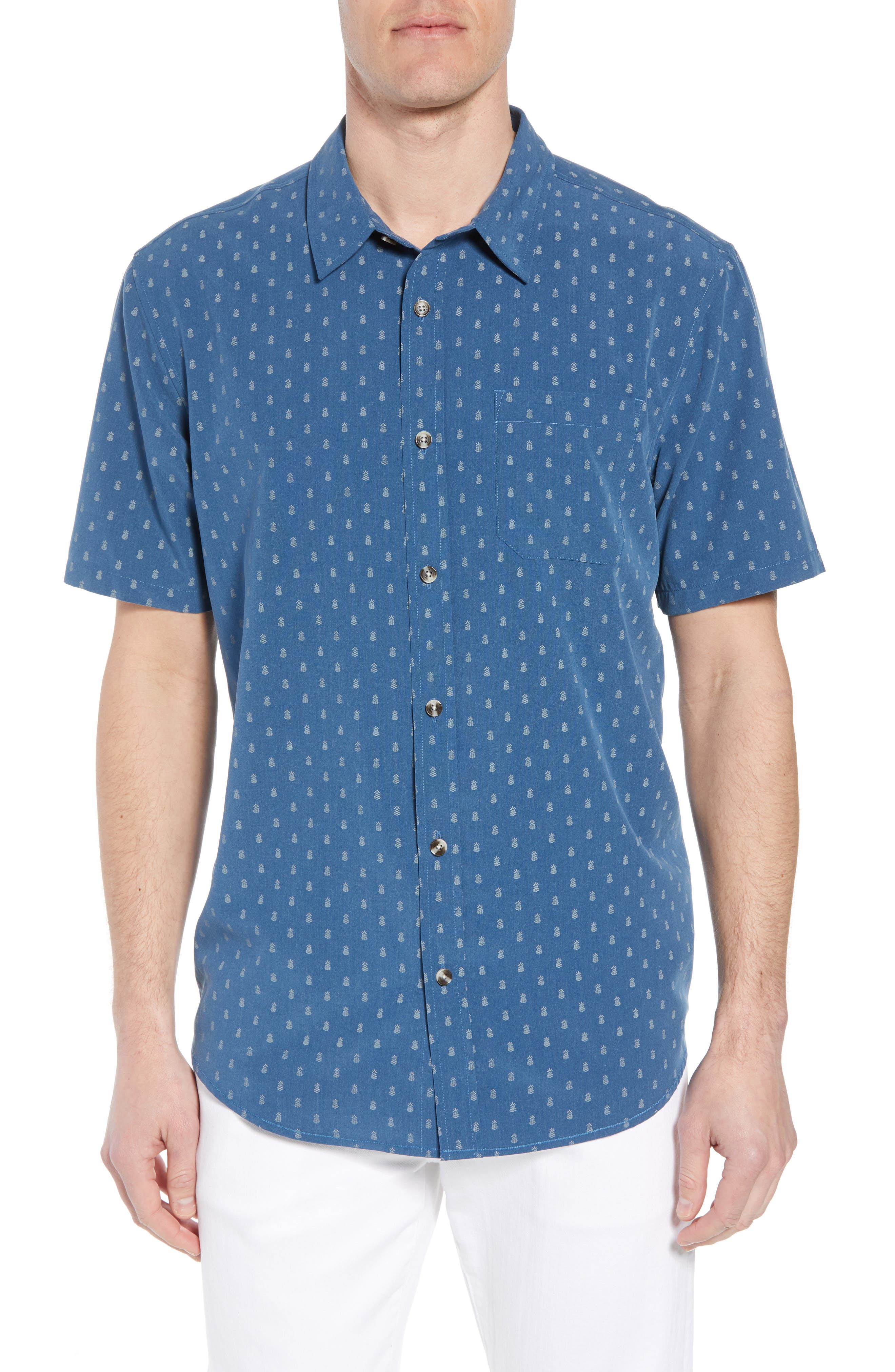 Home Grown Pineapple Sport Shirt, Main, color, COBALT