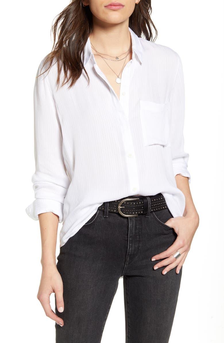 TREASURE & BOND Dobby Classic Shirt, Main, color, WHITE