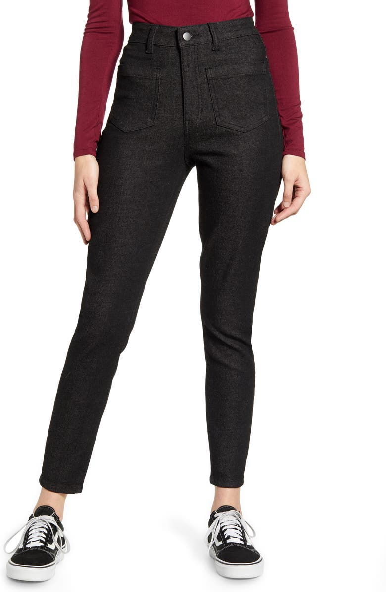 PROSPERITY DENIM High Waist Utility Skinny Jeans, Main, color, CHARCOAL