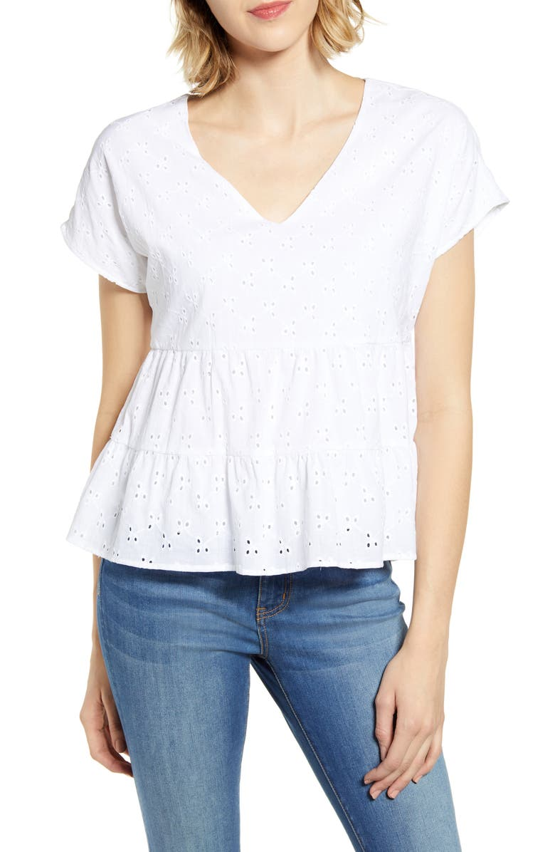 GIBSON x The Motherchic Harmony Tiered Woven Eyelet Top, Main, color, 100