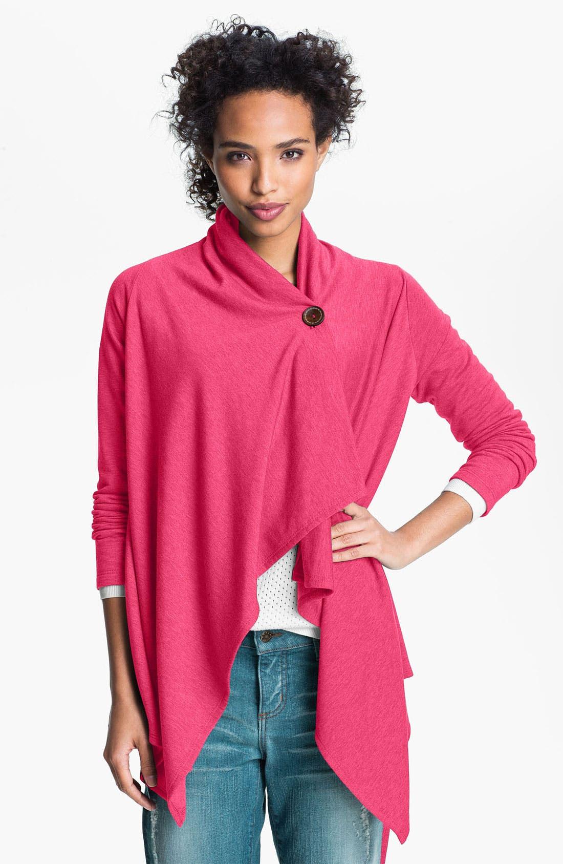 ,                             One-Button Fleece Wrap Cardigan,                             Alternate thumbnail 190, color,                             653