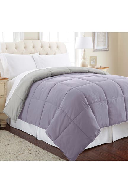 Image of Modern Threads Down Alternative Reversible King Comforter - Amethyst/Silver