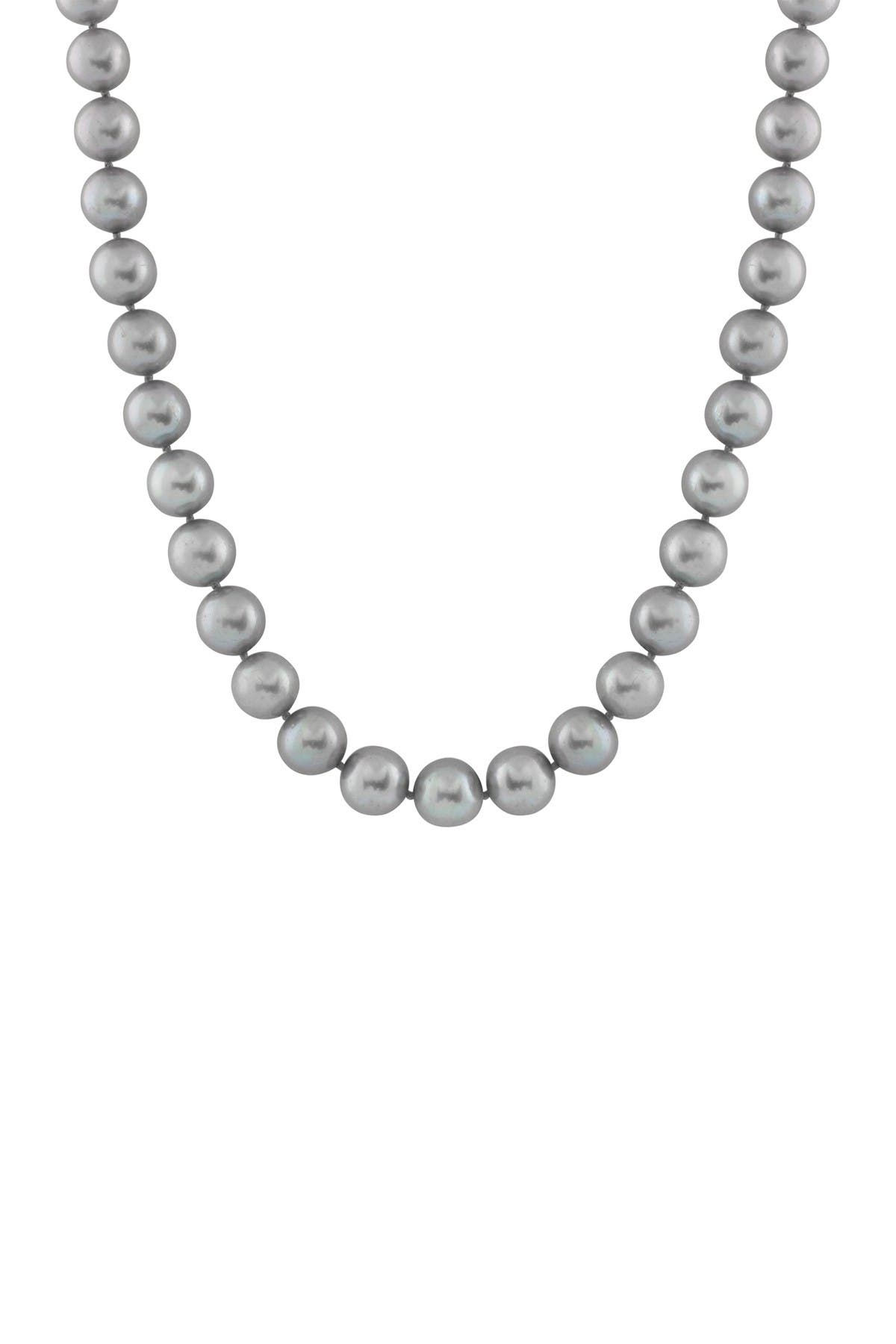 Image of Splendid Pearls 14K White Gold 7-8mm Dyed Gray Pearl Necklace