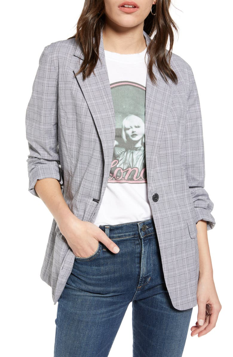 TREASURE & BOND Mini Plaid Blazer, Main, color, BLACK- WHITE PLAID