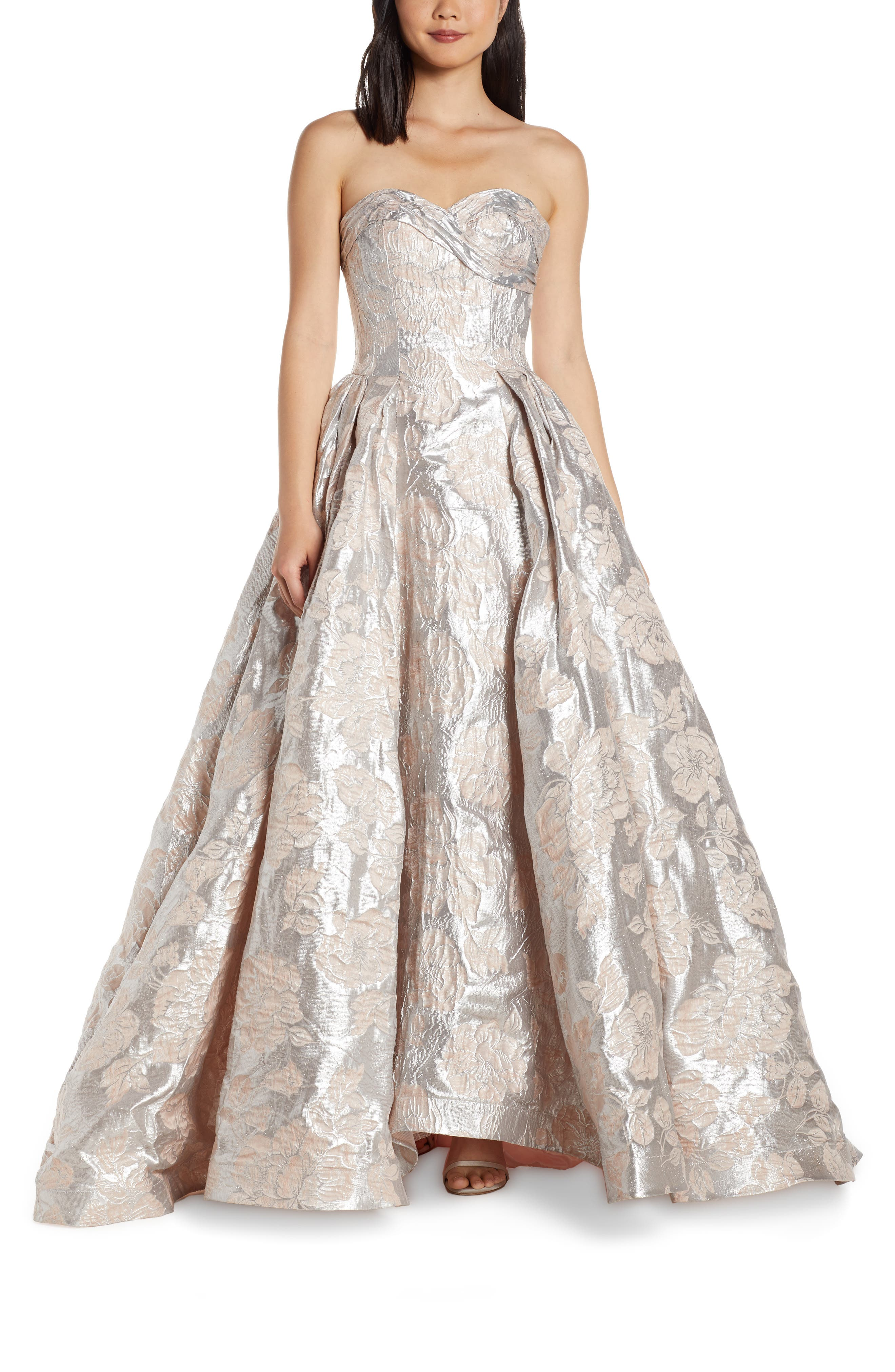 MAC Duggal Strapless Metallic Floral Jacquard Prom Dress, Pink