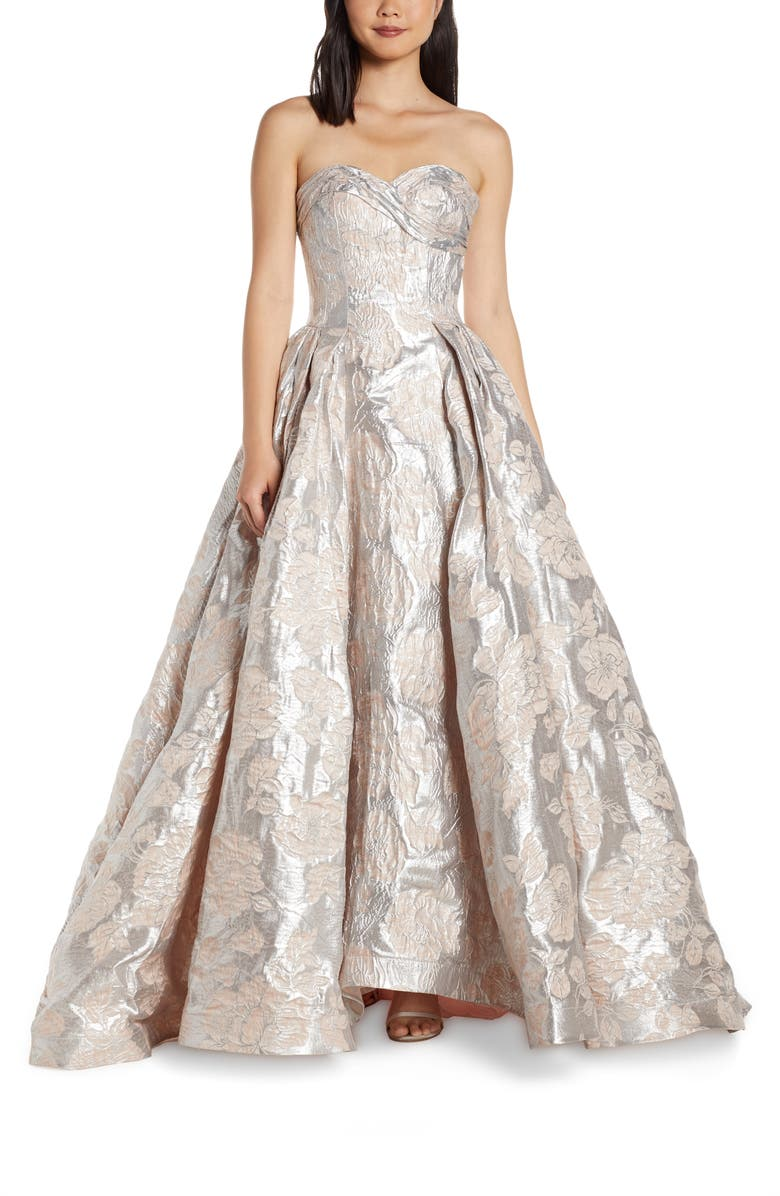 MAC DUGGAL Strapless Metallic Floral Jacquard Prom Dress, Main, color, ICE PINK