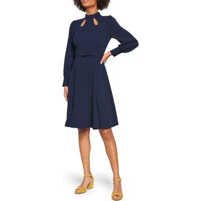 Modcloth Long Sleeve Keyhole A-Line Dress, 8 (similar to 1-16W) - Blue