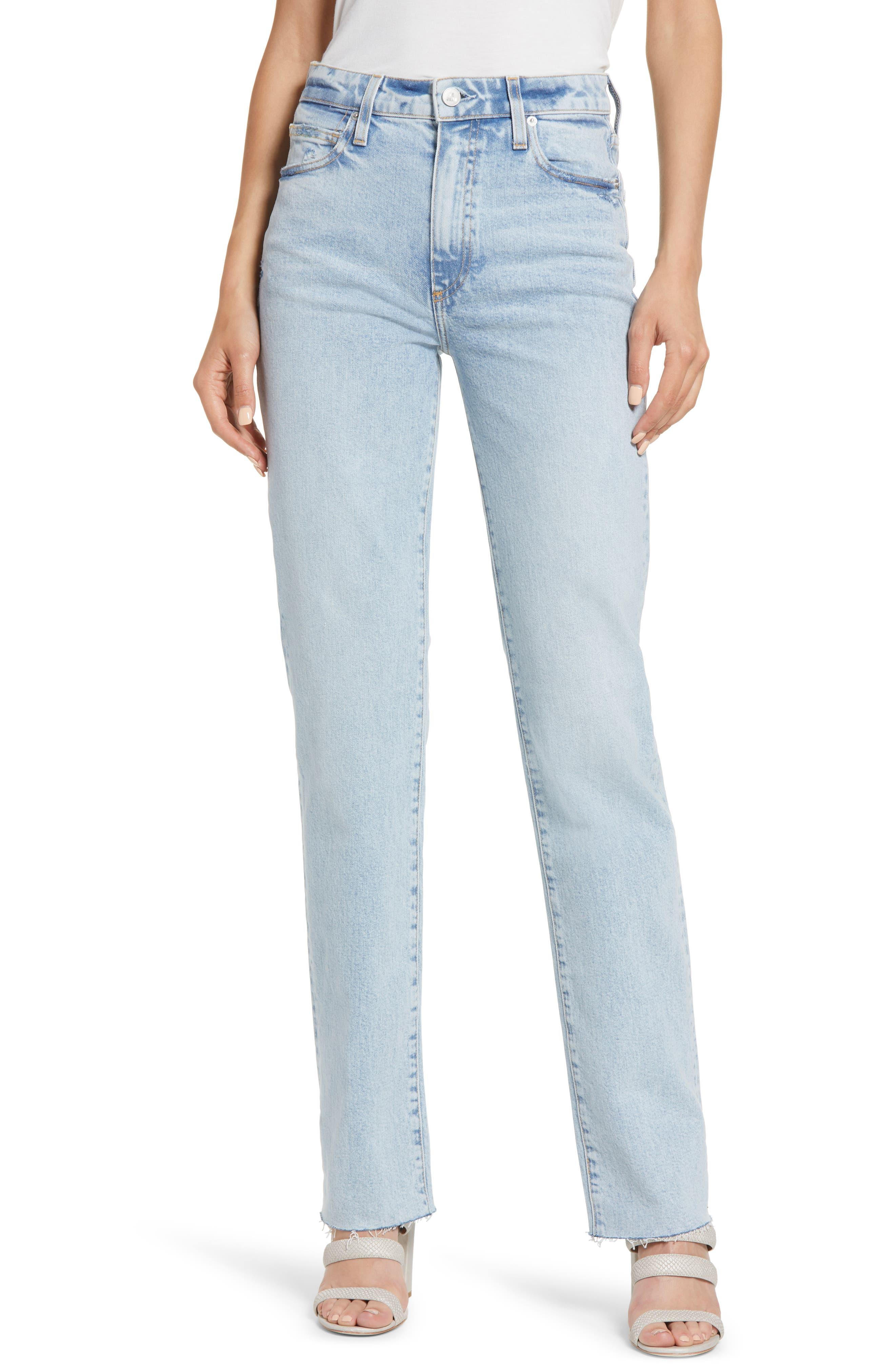 Sabine High Waist Raw Hem Straight Leg Jeans